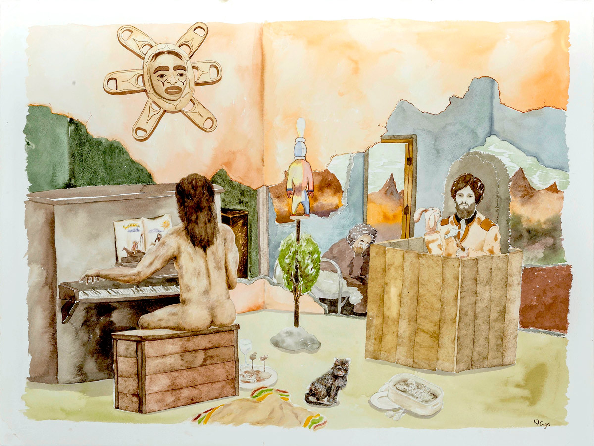 "Joseph Tisiga ""A Tune for Spectacle"" 2013, Watercolour on Paper, 22"" x 30"