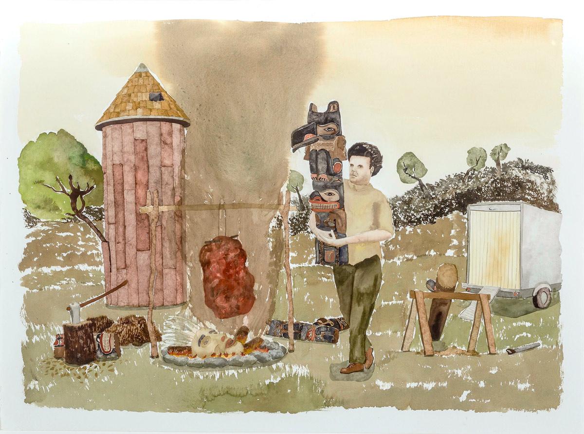 "Joseph Tisiga ""Sweetened by false generosity"" 2014, Watercolour on paper, 22"" x 30"""