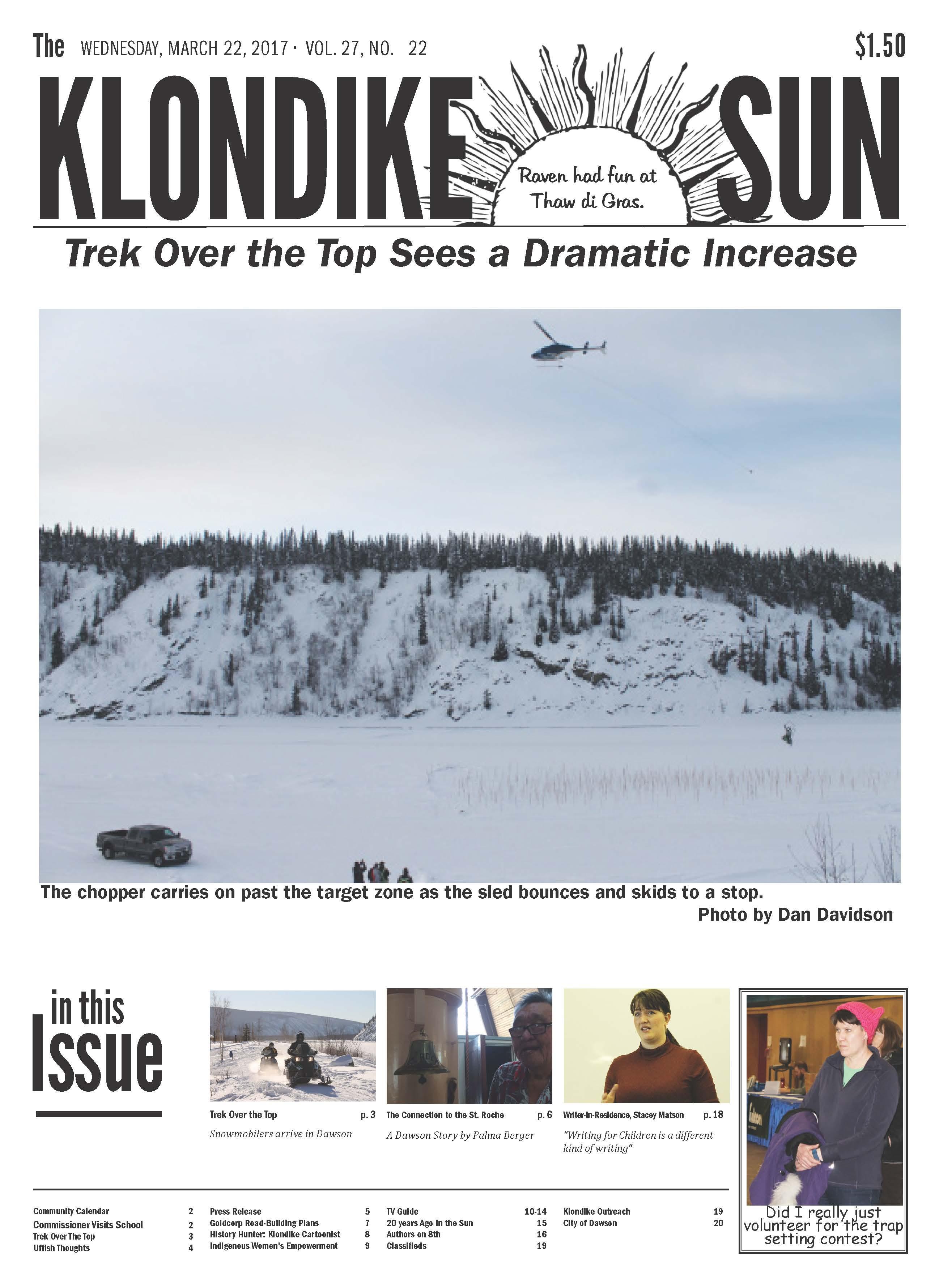 Klondike Sun March 22, 2017 Front Page